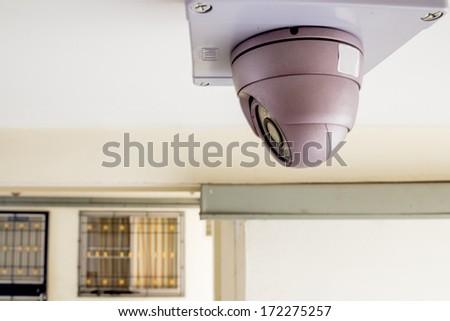 CCTV in condominiun in front of rooms - stock photo