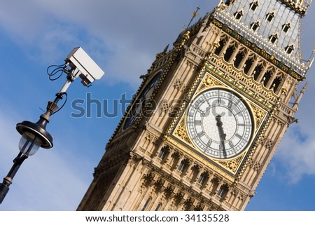 CCTV pointing towards Big Ben - stock photo