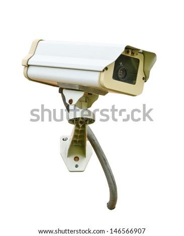 CCTV security camera isolated on white background - stock photo