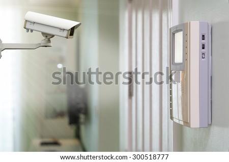 CCTV security camera on the video intercom equipment - stock photo