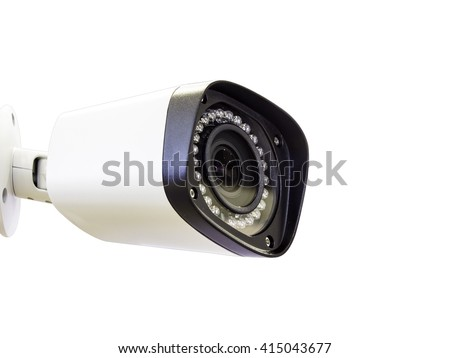 cctv security camera on white background - stock photo