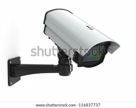 CCTV security camera on white background. 3d - stock photo