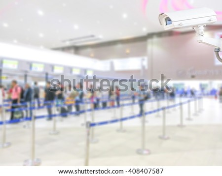 CCTV system security in airport blur background. - stock photo
