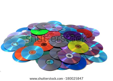 CD and DVD isolated as data technology background - stock photo