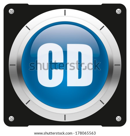 CD compact disk symbol - modern glossy blue icon or button - stock photo