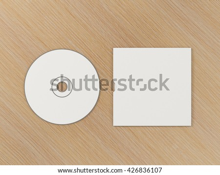 CD disc and carton packaging cover template mock up. Digipak case of cardboard CD drive. With white blank for branding design or text. Isolated on wooden background. High resolution 3d illustration. - stock photo