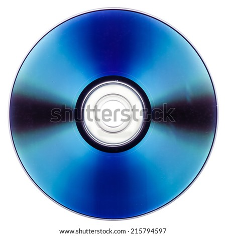 CD DVD for audio and video data recording isolated over white background - stock photo