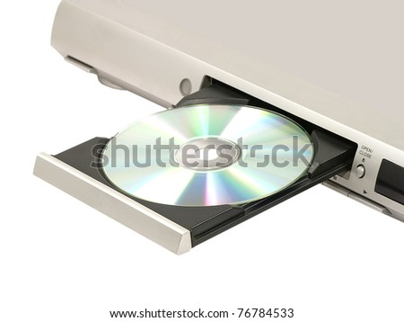 CD/DVD player with opened doors on white background. - stock photo