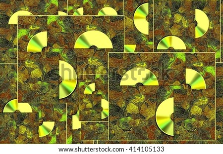 CD on carpet. Sing your favorite song.  The picture shows the cover of the disc â?? CD  by east patterns. This cover can be used for many CD.  - stock photo