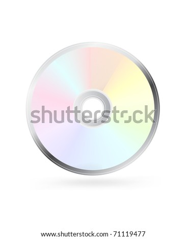 CD or DVD disc on white - stock photo