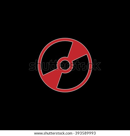 CD or DVD. flat symbol pictogram on black background. red simple icon with white stroke - stock photo