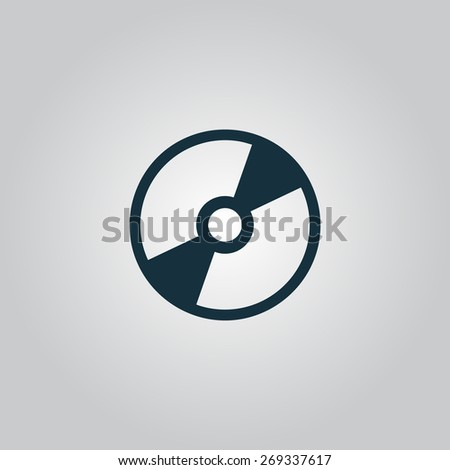 CD or DVD. Flat web icon, sign or button isolated on grey background. Collection modern trend concept design style illustration symbol - stock photo