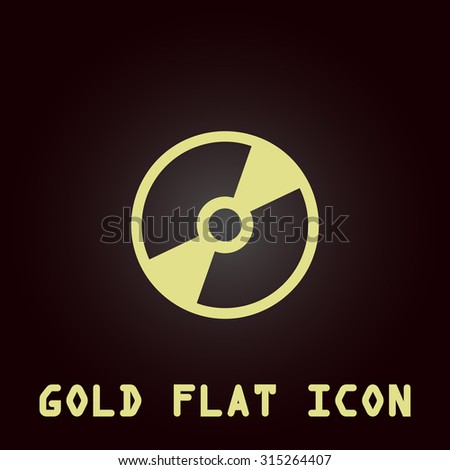 CD or DVD. Gold flat icon. Symbol for web and mobile applications for use as logo, pictogram, infographic element - stock photo