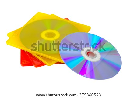 CD or DVD in colored plastic cases isolated on white background - stock photo