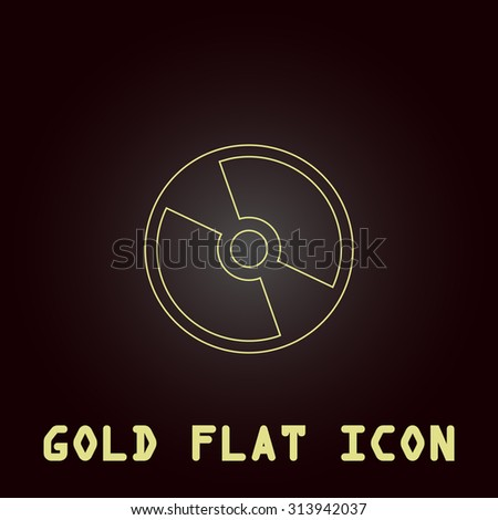 CD or DVD. Outline gold flat pictogram on dark background with simple text. Illustration trend icon - stock photo