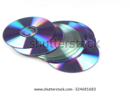 cd pile isolated on white background - stock photo