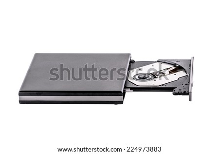 CD-ROM Drive, Computer Part, CD-ROM, Electrical Equipment, Open, rewritable - stock photo