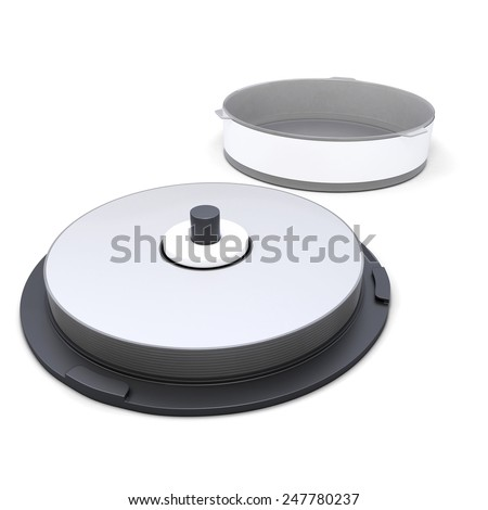 CD Stack case plastic spindle open isolated on white background. 3D render image. - stock photo