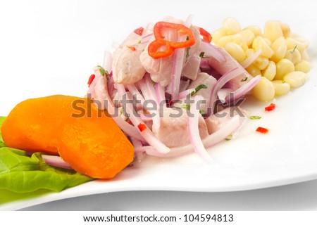 Cebiche, Peruvian food - stock photo
