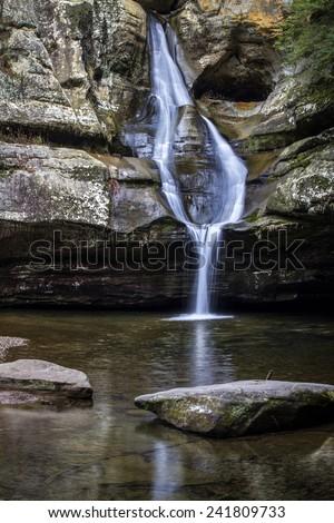 Cedar Falls located in Hocking Hills State Park. Logan, Ohio. - stock photo