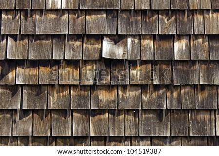 Cedar shingles for siding and roof - stock photo