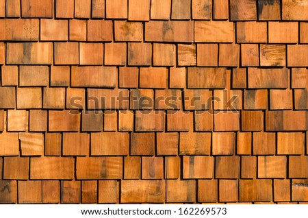 Cedar wooden shakes on roof for background - stock photo