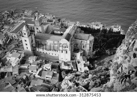 Cefalu cathedral, Sicily island in Italy. Aerial view of province of Palermo. Black and white tone - retro monochrome BW color style. - stock photo
