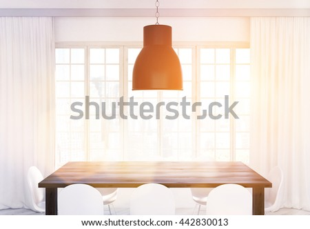 Ceiling lamp, wooden kitchen table and white chairs in front of window with curtains and city view. Toned image. 3D Rendering - stock photo