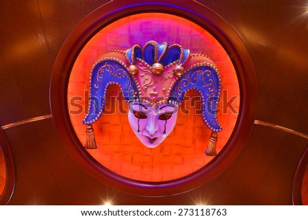 Ceiling of a venetian mask crying - stock photo