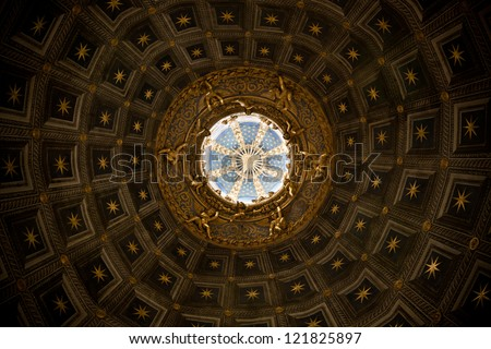 ceiling of dome or cathedral  siena - stock photo
