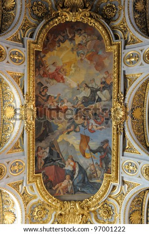 ceiling's church Saint Louis of the French, Rome, Italy - stock photo