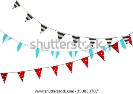 Celebrate banner. Party flags blue, brown, Red and white. - stock photo