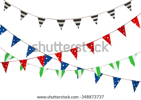 Celebrate banner. Party flags blue, brown, Red, Green and white. - stock photo