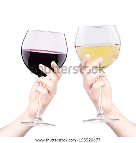 celebrate the holiday background - hand with wine making toast - stock photo