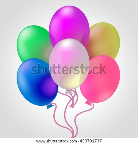 Celebrate With Balloons Meaning Cheerful Party And Celebrating - stock photo