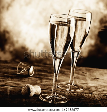 celebrate with sparkling wine   - stock photo