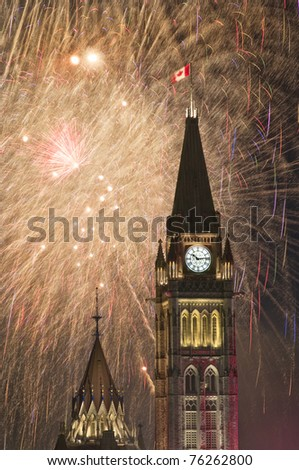 Celebrating Canada Day on Parliament Hill in Ottawa Ontario. - stock photo