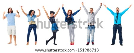 celebrating diversity real people group isolated on white cheering - stock photo