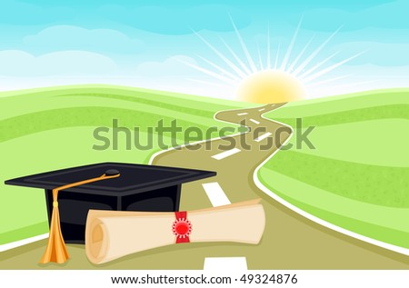 Celebrating graduation day with bright future ahead. - stock photo