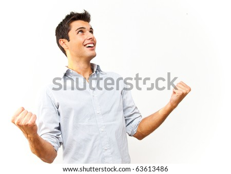 Celebrating happy man - stock photo