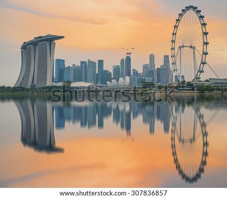 Celebrating Singapore's 50th Birthday in Marina Bay at Singapore  - stock photo