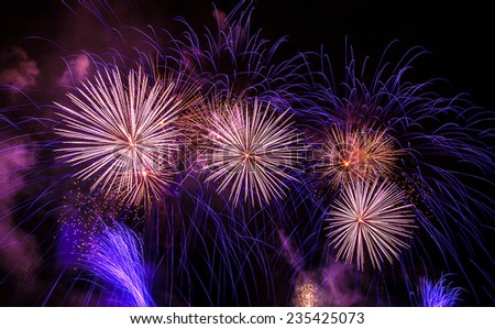Celebrating the New Year with colorful fireworks - stock photo