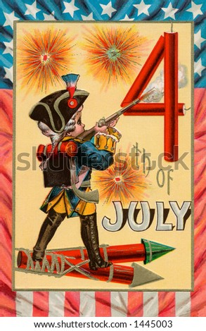 Celebrating the 4th of July -  a 1913 vintage illustration of a boy dressed as a colonial soldier with fireworks. - stock photo