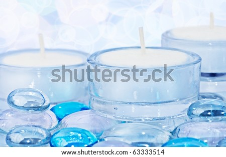 Celebration background. Decoration with candles and glass drops - stock photo