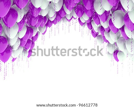 Celebration background with red and white balloons isolated on white - stock photo