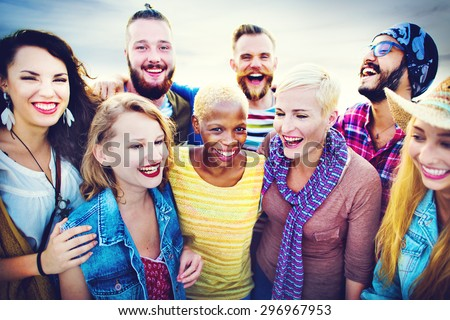 Celebration Cheerful Enjoying Party Leisure Happiness Concept - stock photo