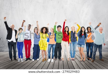 Celebration Community Cheerful Happiness Success Concept - stock photo