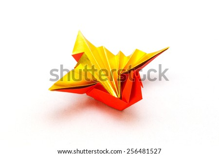 Celebration crane / A traditional japanese paper craft used when congratulating a wedding, new year birthday. - stock photo