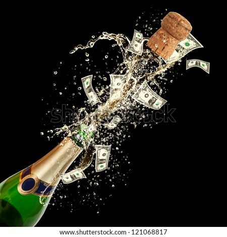 Celebration event with concept of dollar bank-notes splashing out of bottle. Isolated on black background - stock photo