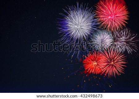 Celebration fireworks over night sky, copy space. Celebration colorful fireworks. New Year holidays salute. 4 of July,  4th of July, Independence Day beautiful fireworks.   - stock photo